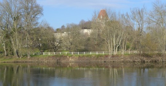 View of the Chateau Bourg-Charente and the Charente river